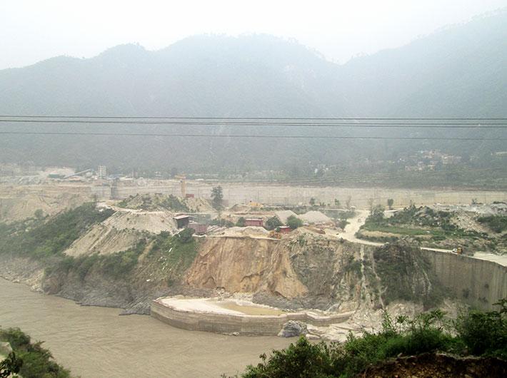 After flood, a dam being built in Srinagar, Uttarakhand