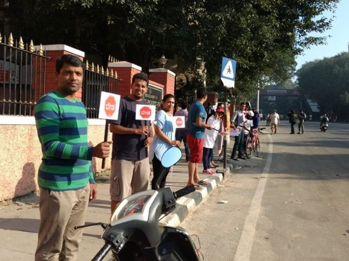Citizens stand in front of Chalukya Hotel to say no to steel flyover
