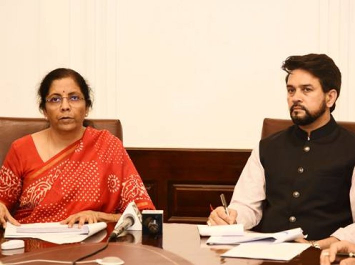 Finance minister Nirmala Sitharaman with MoS Anrag Thakur addressing the press through video conferencing on Tuesday.