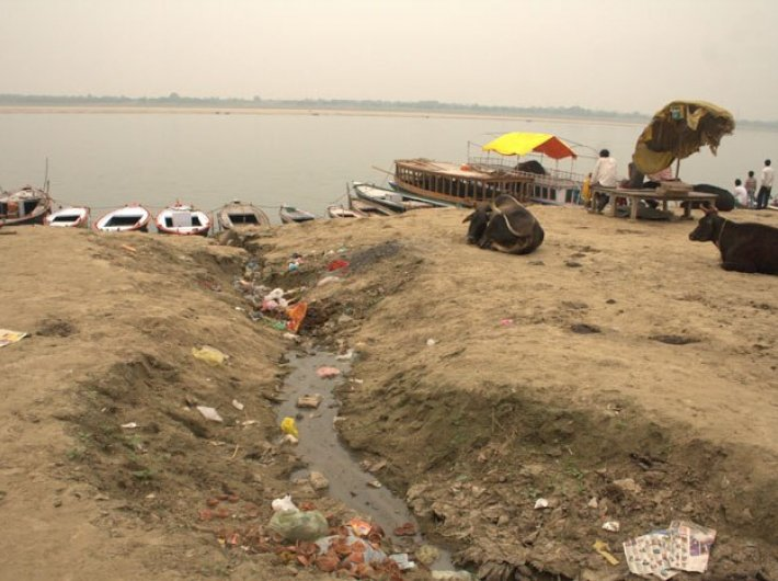 Sewage water entering Ganga in Varanasi