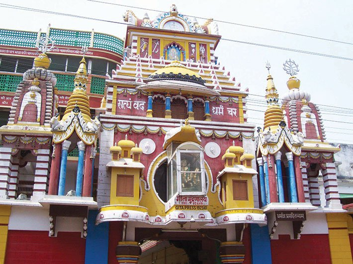 The canopied entrance to the Gita Press, Gorakhpur. Photo by Ishita Mishra