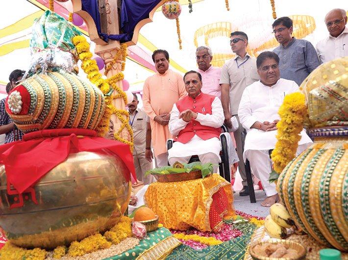 Chief minister Vijay Rupani at a jal abhiyan puja in Dhandhuka