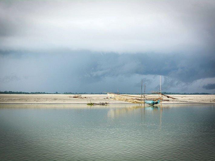 View of the Majuli island on the Brahmaputra.