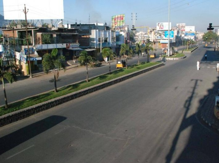 A deserted stretch of road in Hyderabad on Tuesday as Telangana`s
