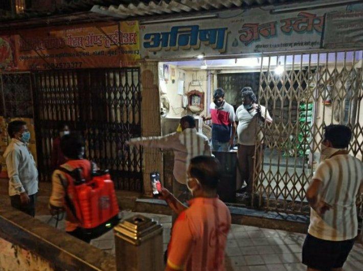 A local representative in Mumbai undertaking sanitisation operations. (Photo: Vithal Lokare)