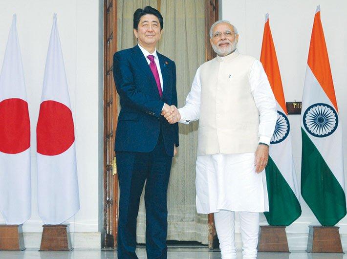 PM Narendra Modi with his Japanese counterpart Shinzo Abe in New Delhi in 2015