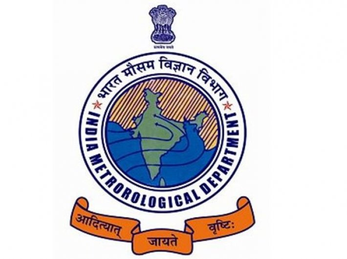 The IMD logo: its motto in Sanskrit means `The Sun Gives Rainfall`.