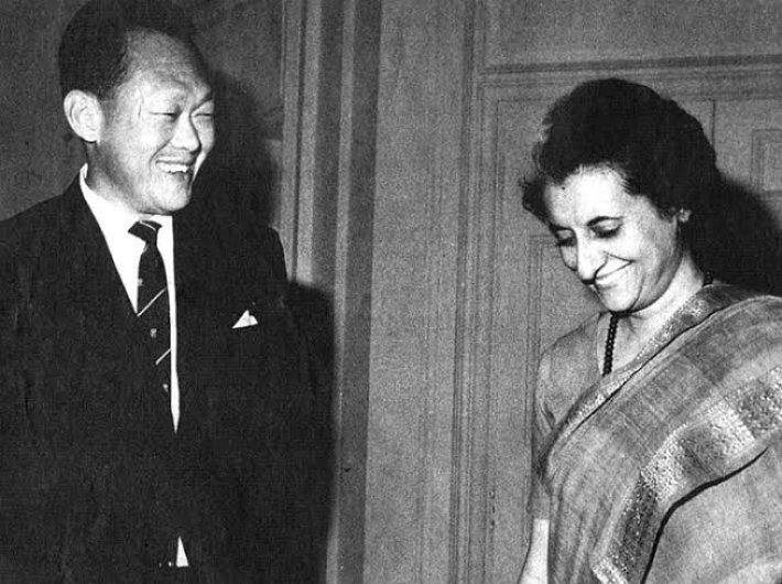 Singapore prime minister Lee Kuan Yew and his Indian counterpart Indira Gandhi during his first official visit to India in 1966.