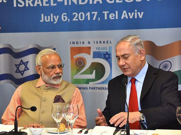 Indian PM Narendra Modi with his Israeli counterpart Benjamin Netanyahu at the 1st Israel - India CEOs Forum at Tel Aviv in July 2017
