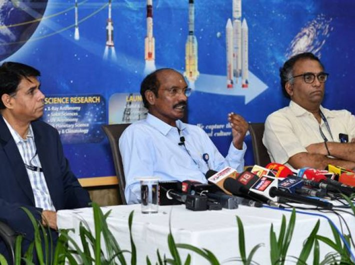 ISRO chairman Dr K Sivan and colleagues address the media in Bengaluru on Wednesday