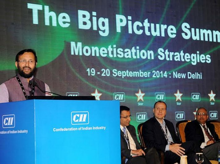 Information and broadcasting minister Prakash Javadekar addressing at the CII Big Picture Summit in New Delhi