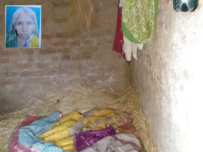 Etwariya Devi`s house; inset: Etwariya Devi (Photo: Right to Food Campaign)