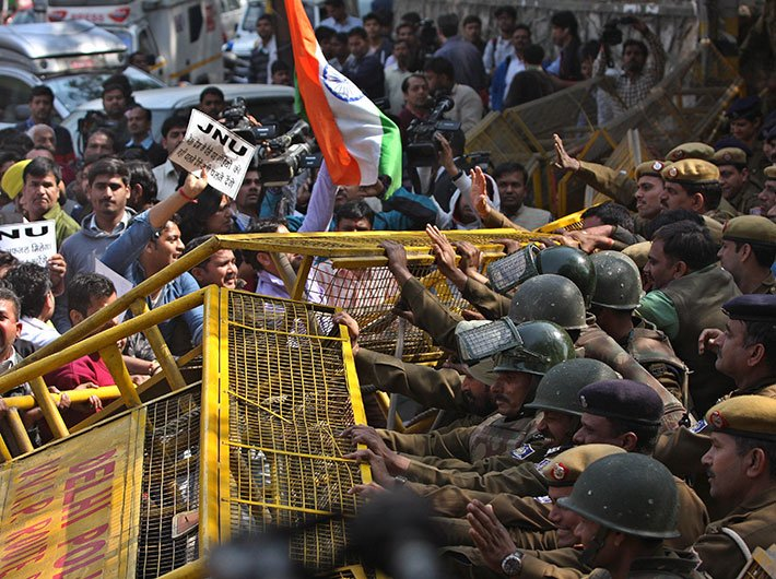 Protest outside JNU on Tuesday. (Photo by Arun Kumar)