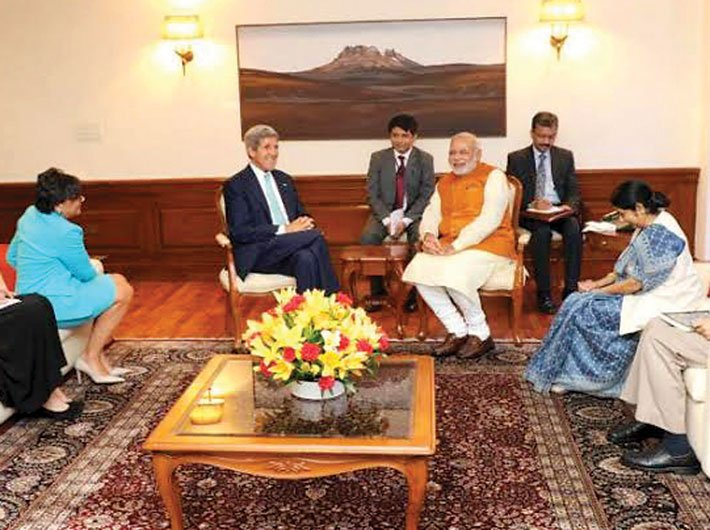 Testing waters? US secretary of state John Kerry during his meeting with prime minister Narendra Modi.