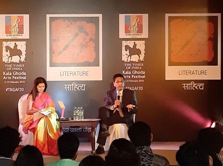 Dhananjay Chandrachud while speaking at David Sasoon Library at the Kala Ghoda Arts Festival