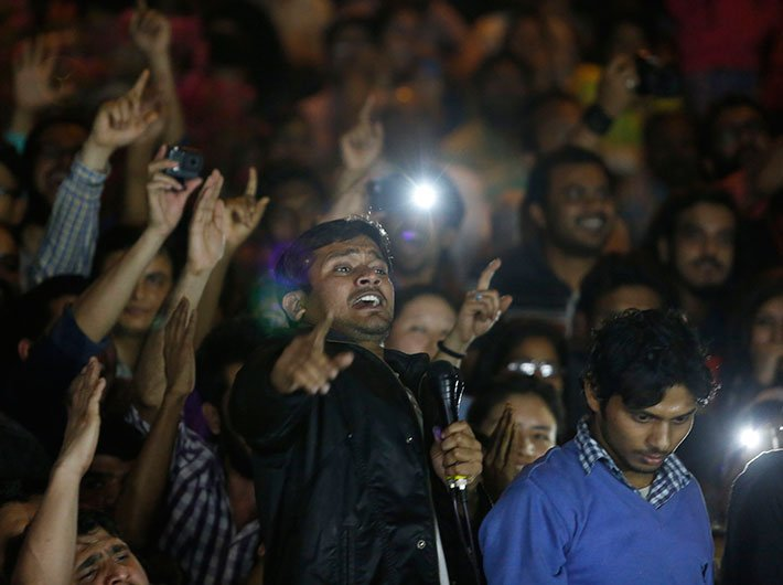 Kanhaiya Kumar addressing students at JNU campus on Thursday. (Photo: Arun Kumar)