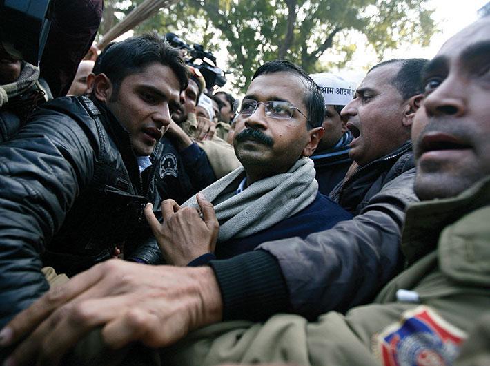 Arvind Kejriwal during his recent dharna near Rail Bhavan in New Delhi.