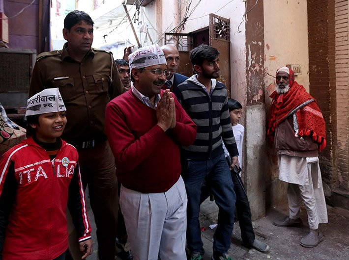 AAP chief Arvind Kejriwal campaigning in Delhi on February 05.