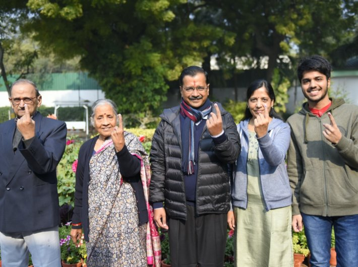Delhi chief minister Arvind Kejriwal tweeted this photo of his family after casting their vote. (Photo courtesy @AamAadmiParty)