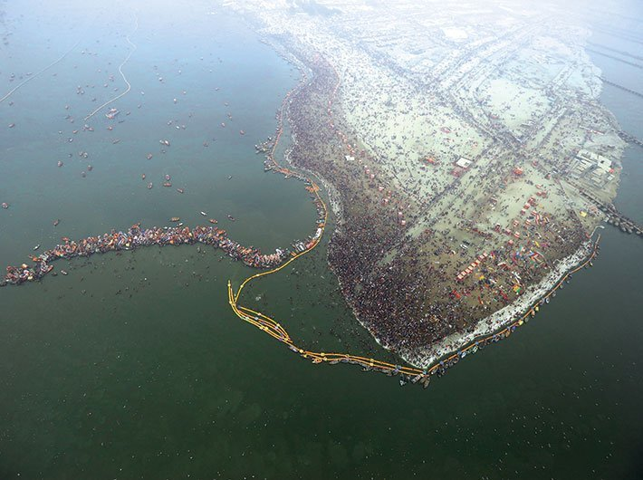 An aerial view of the Kumbh Mela at Prayagraj, 2019. The Kumbh administration is an example of religion and governance coming together. (File photo: Arun Kumar)