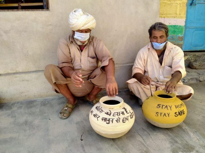 File photo of a KVIC campaign in Rajasthan to create awareness about Covid-19 precautions