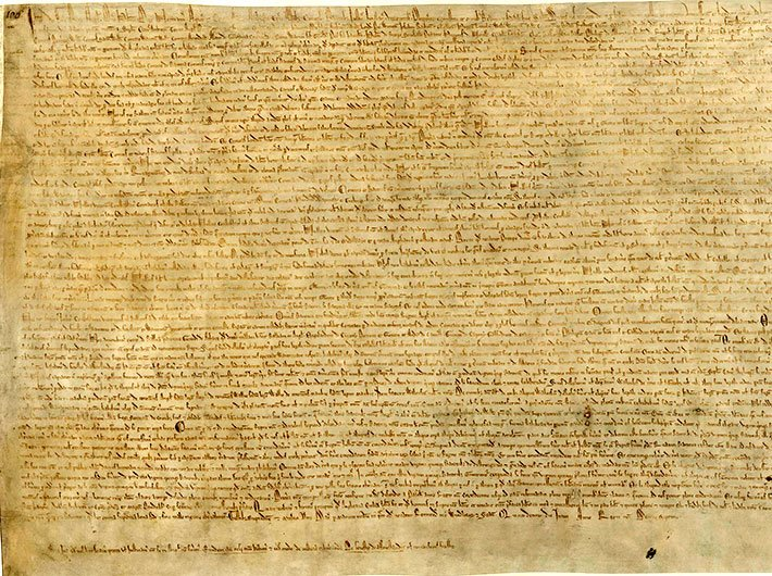 One of the four surviving copies of the 1215 Magna Carta