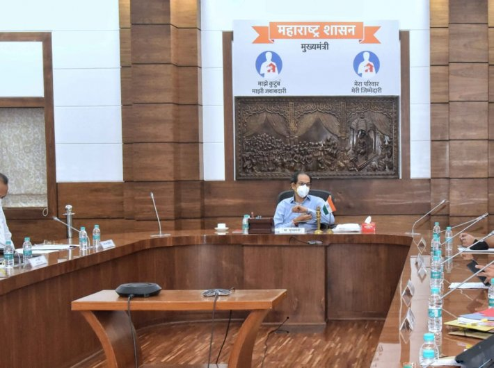 Chief minister Uddhav Thackeray chairing the meeting on Thursday