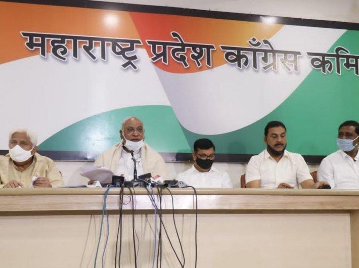 Congress leader Kharge addresses a press meet in Mumbai on Monday