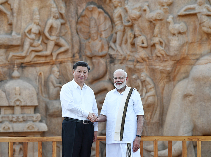 Prime minister Narendra Modi and President Xi Jinping in Mamallapuram during their second informal summit during October 11-12..