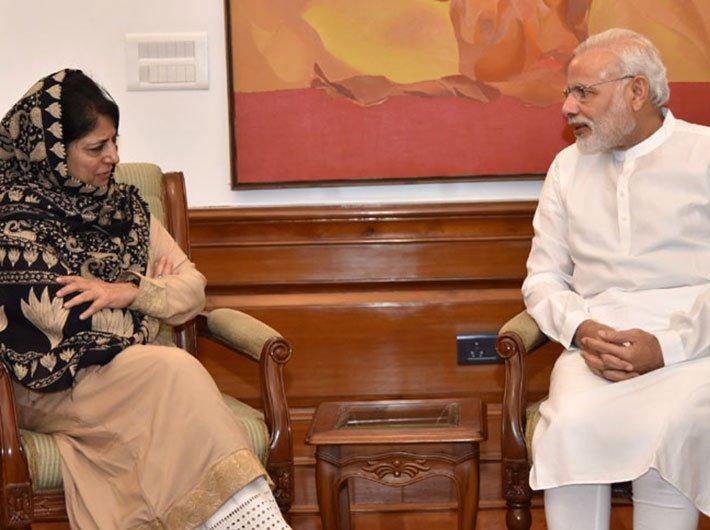 J&K CM Mehbooba Mufti with PM Narendra Modi in New Delhi on August 27