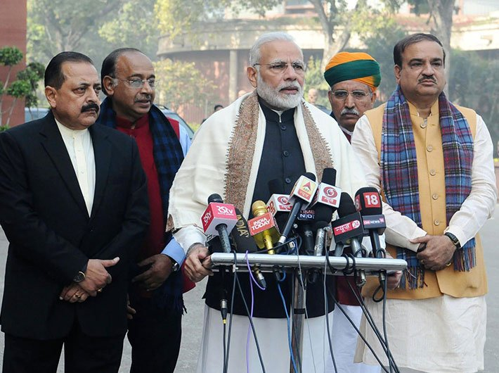 PM Modi delivering his statement to media ahead of the Budget Session of Parliament, in Parliament House, on January 29