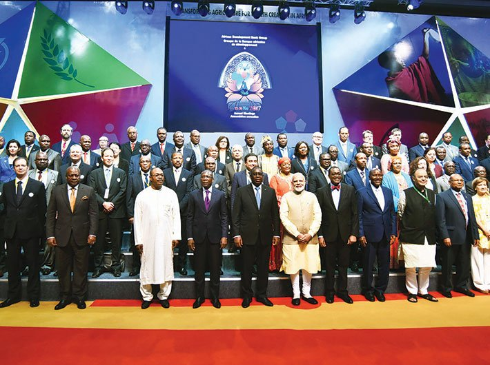 PM Narendra Modi with foreign delegates at the 52nd African Development Bank Annual meetings, in Gandhinagar on May 23.