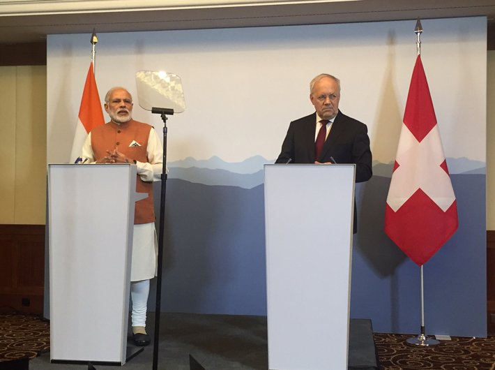 PM Narendra Modi with the president of the Swiss Confederation, Johann Schneider-Ammann