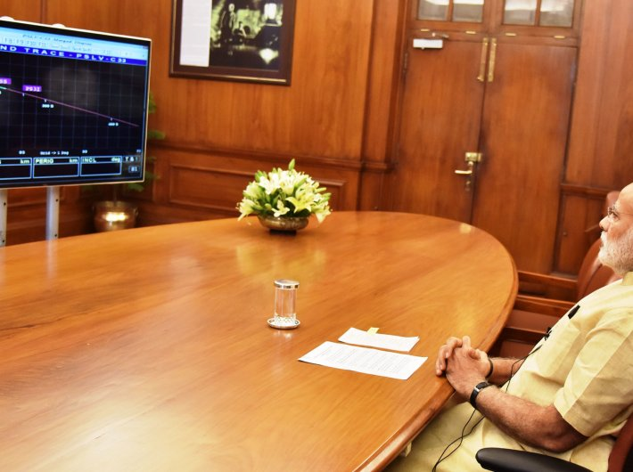 Prime minister Narendra Modi watches telecast of the launch of the IRNSS-1G on Thursday