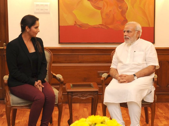 Narendra Modi with tennis player Sania Mirza, who called on the prime minister recently.