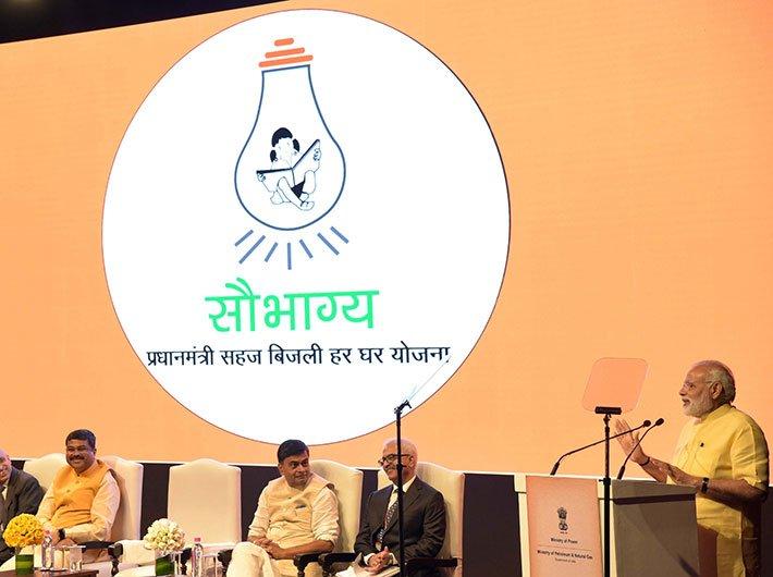 PM Modi at the launch of Pradhan Mantri Saubhagya Yojana on Monday