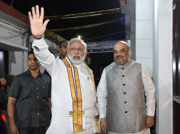 Modi and Shah at the BJP Central Election Committee Meeting in New Delhi (Photo: bjp.org)