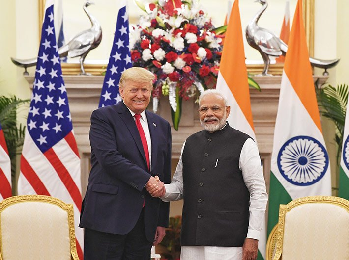 Predient Donald Trump and prime minister Narendra Modi after their bilateral meet at the Hyderabad House in New Delhi on Tuesday