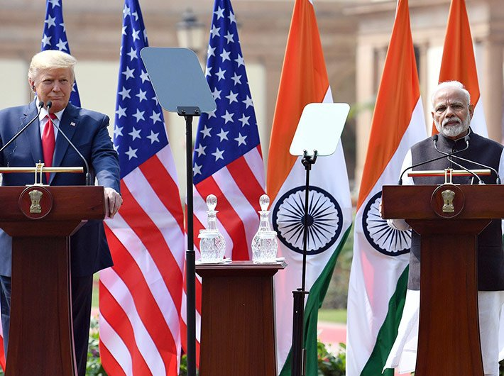 US president Donald Trump and prime minister Narendra Modi address the media after their talks at the Hyderabad House in Delhi Tuesday.