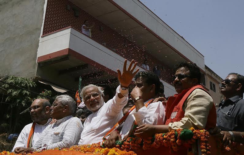 Narendra Modi on way to file his nomination in Varanasi.