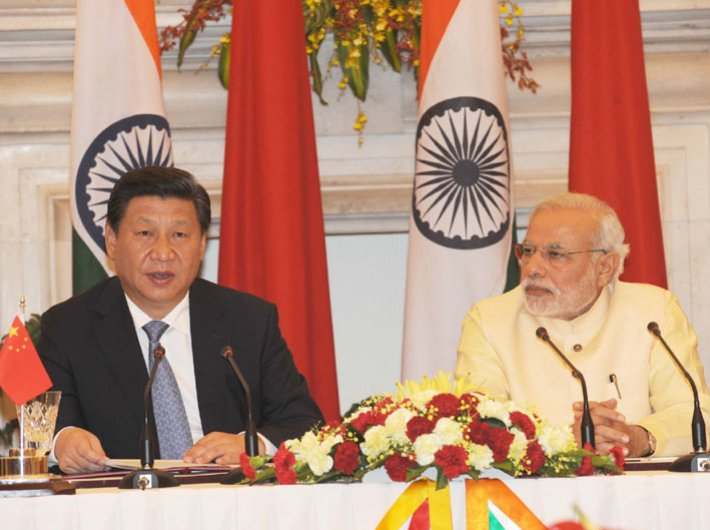Prime minister Narendra Modi (right) and Chinese president Xi Jinping at the joint press briefing in New Delhi on September 18.