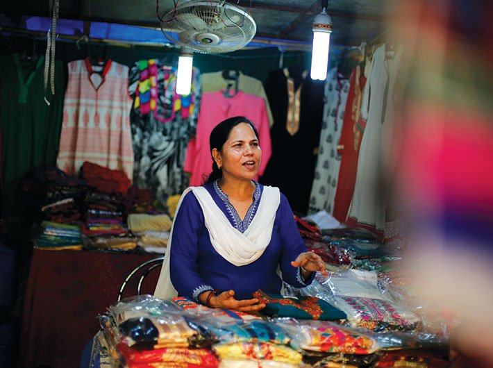 Sadhna Singh at her stall in Delhi Haat