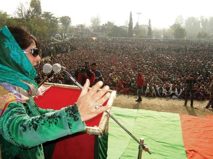 Mehbooba Mufti at an election rally