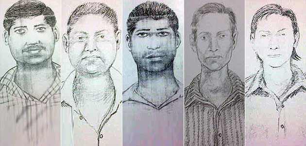 Sketches of the five accused released by the police