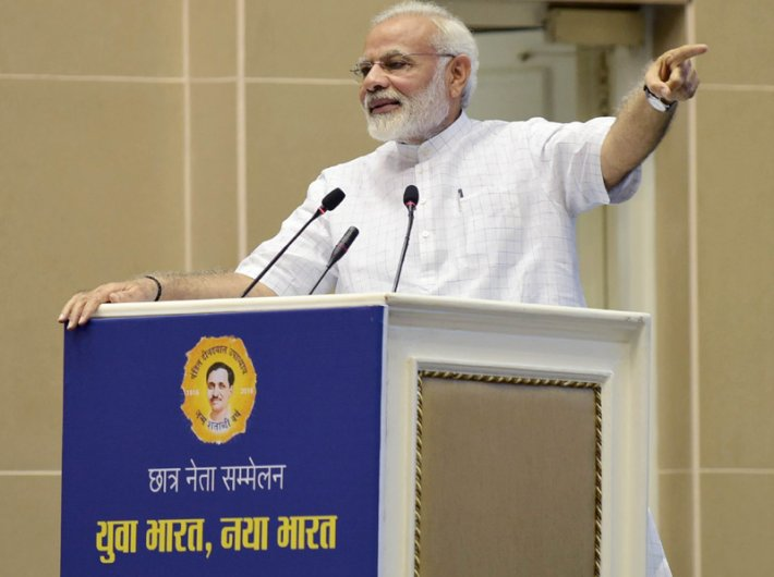 Narendra Modi addressing a gathering of students on the theme of 'Young India, New India', in New Delhi