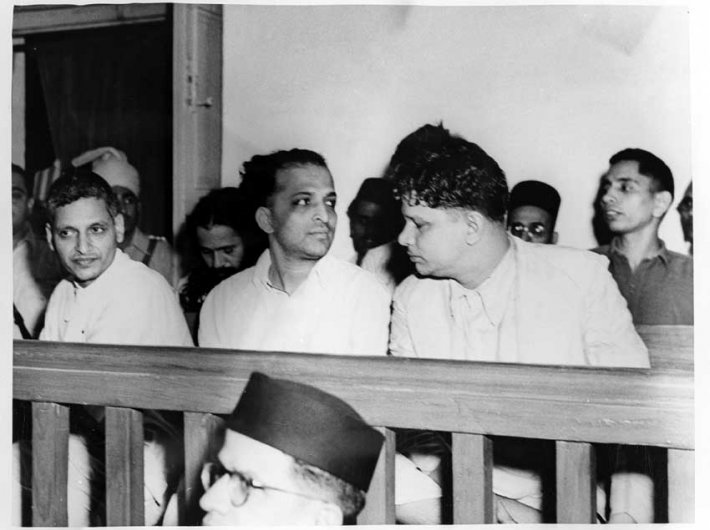 Nathuram Godse (extreme left) during Mahatma Gandhi`s assassination trial in a  special court in Red Fort Delhi on May 27, 1948
