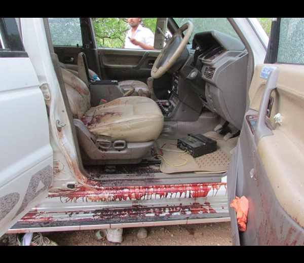 A bloodied car that bore witness to the pin-point killings of several Congress leaders in Chhattisgarh on Saturday.