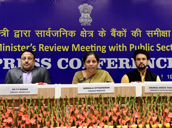 Finance minister Nirmala Sitaraman with MoS Anurag Singh Thakur and Finance Secretary Rajeev Kumar