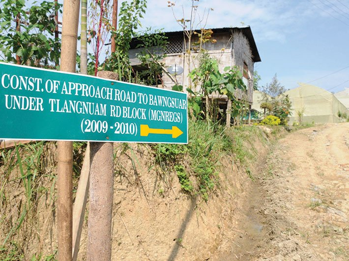 A stretch of road at Sihmui Village in Mizoram, constructed under MGNREGA