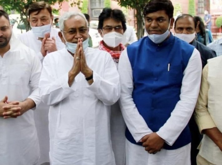 A delegation of ten parties from Bihar, led by chief minister Nitish Kumar, met the prime minister on August 23, seeking a caste-sise count in the census. (Photo courtesy: @yadavtejashwi)